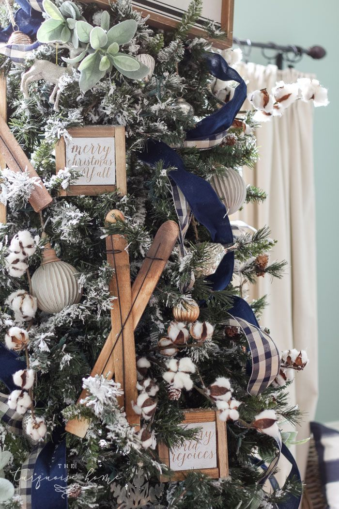 A Navy Green Farmhouse Christmas Tree The Turquoise Home Blue Christmas Decor Christmas Tree Inspiration Blue Christmas Tree