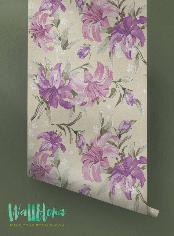 Puprle Lily Pattern Wallpaper - Removable Wallpaper - Lily Wallpaper - Lily Wall Sticker - Purple Lily Pattern Self Adhesive Wallpaper