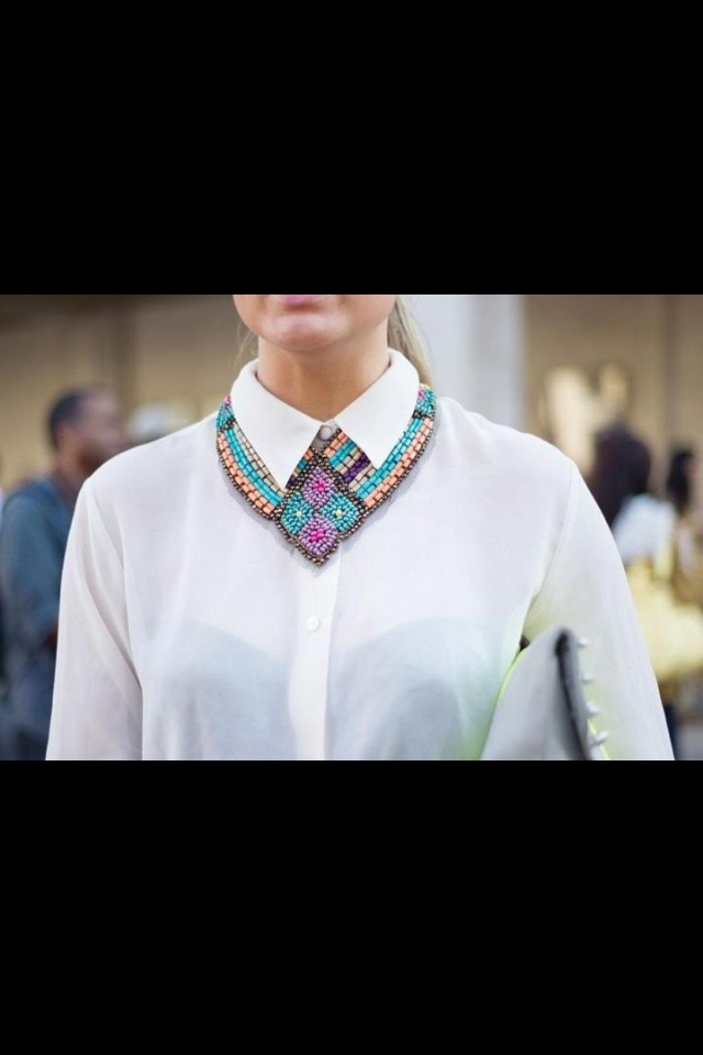 Love it: Fashion Weeks, Nyfw 13 Image Vogue, Street Looks, Fashion Ideas, Statement Necklaces, White Shirts, Collars Necklaces, New York Fashion, Accessories