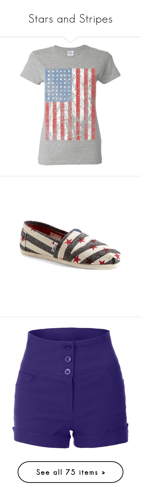 """Stars and Stripes"" by laurijo76 ❤ liked on Polyvore featuring shoes, sneakers, toms, red trainers, toms shoes, star shoes, slip-on sneakers, blue and white striped shoes, shorts and bottoms"