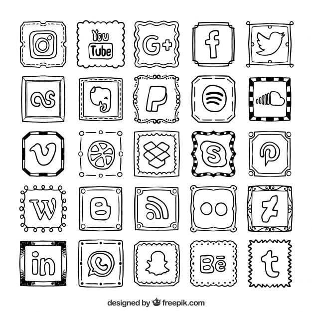 Hand drawn social network icons collection Free Vector