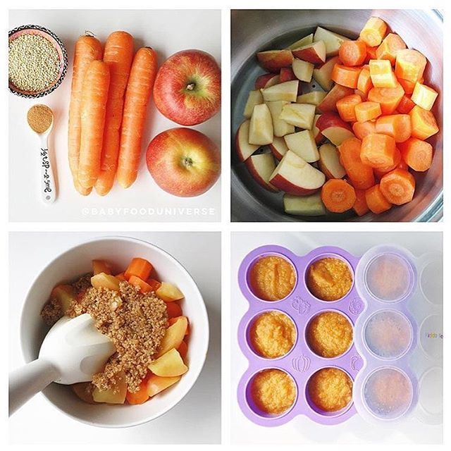 "130 Likes, 16 Comments - Kiddo Feedo ™ (@kiddofeedo) on Instagram: "". Quinoa, Apple, Carrot & Cinnamon Puree. Suitable from [8m+] INGREDIENTS: 2 big apples 4 carrots…"""
