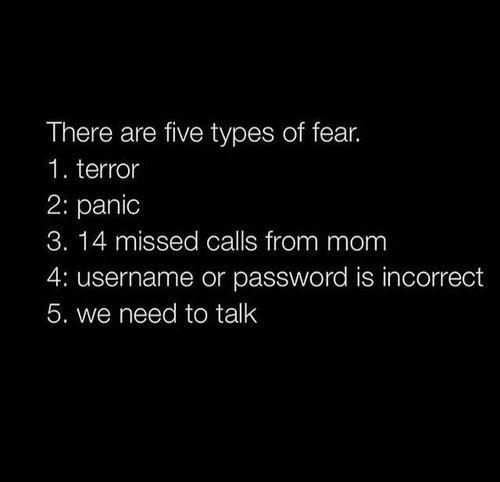 5 types de peur 1. terreur 2. panique 3. 14 appels manqué de maman 4. pseudonyme ou mot de passe incorrect 5. Il faut qu'on parle