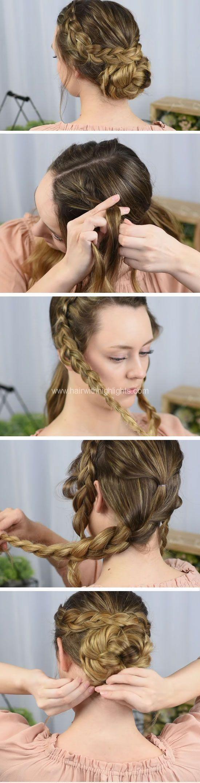 Niederländisch geflochtene Aufmachung Schnelle DIY Prom Frisuren für mittleres Haar