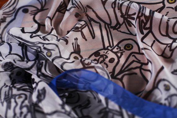 Silk Scarf: Argle Bargle Blue Bird by rawaanalkhatib on Etsy