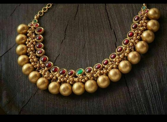 gold plated pure silver temple jewellery_1 #GoldJewellerySouthindian