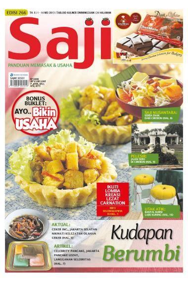 Saji / ED 266 2013. Di edisi ini mengupas tuntas kuliner Cirebon. Sajian Serba Enak dari Cirebon dan Jajanan Seru di Cirebon dibahas tuntas di rubrik SAJI NUSANTARA dan PELESIR. Bahasan mengenai Kudapan Berumbi menjadi porsi utama bahasan SAJI edisi ini. Beli SAJI edisi ini dalam format e-magazine di sini >> http://www.getscoop.com/majalah/saji-ed-266-2013