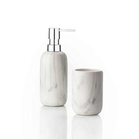 Zone Tvålpump + Tandborsthållare - Marmorstruktur
