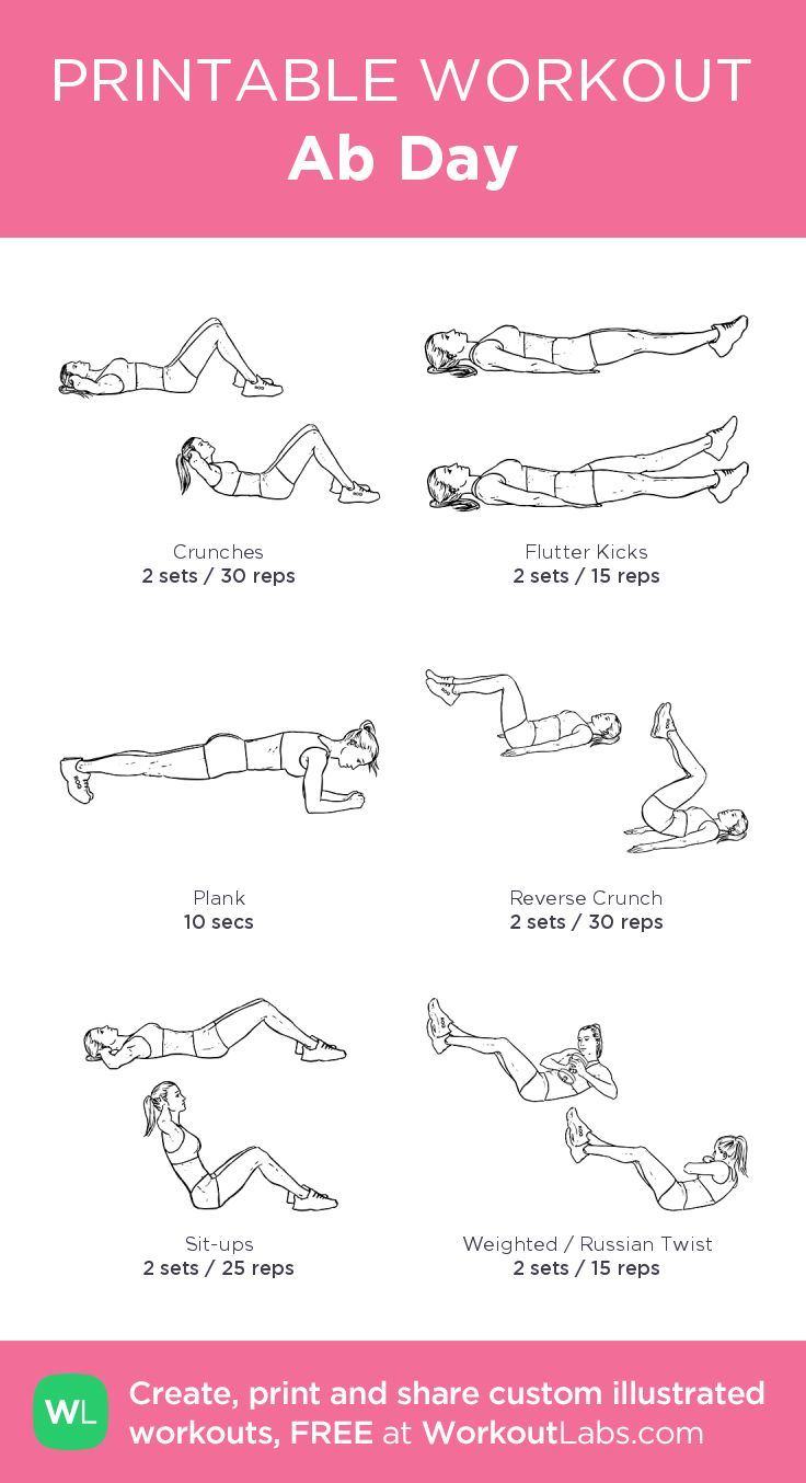 Ab Day–my custom exercise plan created at WorkoutLabs.com • Click through to download as a printable workout PDF #customworkout