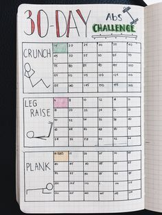 Bullet Journal | 30 Day Fitness Challenge Tracker _ à adapter pour d'autres challenges
