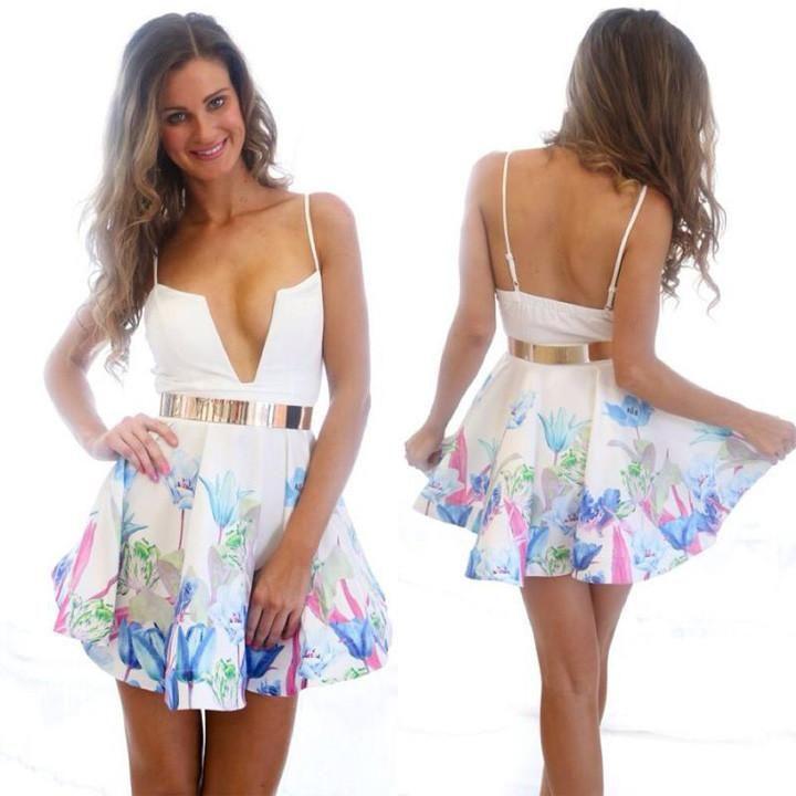 Floral Printed Deep V-Neck Strap Dress Nightclub  #girls #fashion #outfits #onlineshopping #ohyoursfashion