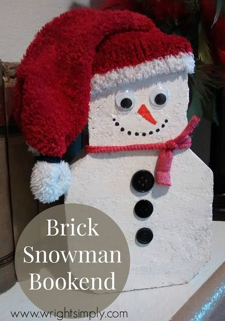 Simply Wright: Brick Snowman Bookend