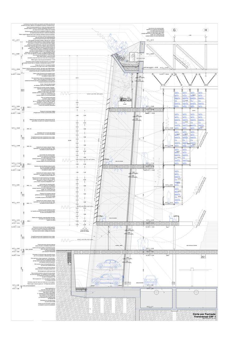 Alberto Kalach - Biblioteca Vasconcelos (DF) Corte por Fachada Transversal CXF-1
