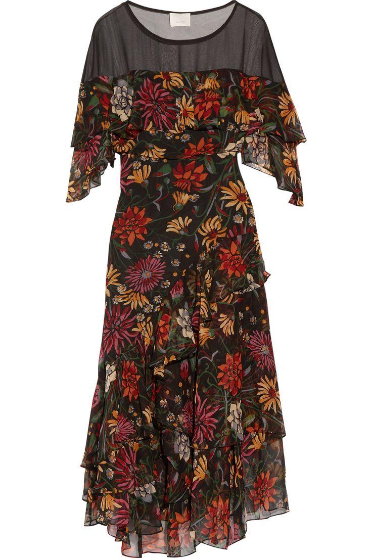CINQ À SEPT Juliet Ruffled Floral-Print Silk-Georgette Midi Dress. #cinqàsept #cloth #dress