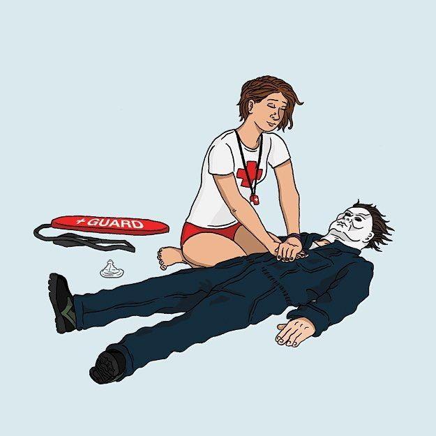 Another day at the job folding T-shirts all day. Did you know Michael switched careers? Looking for a way to give back to the community after all those murders Michael Myers became a CPR manikin for new unsuspecting lifeguards.  #michaelmyers #halloween #lifeguards #beach #swimmingpool #cpr #manikin #horror #horrormovie #horrorfan #horroraddict