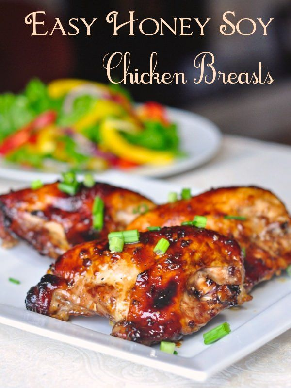 Honey Soy Chicken Breasts - under an hour cooking time is all it takes to bake these chicken breasts to delicious glazed perfection. In our TOP TEN recipes.