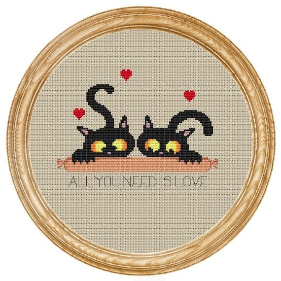 Cross Stitch Pattern PDF cats with sausage DD0180