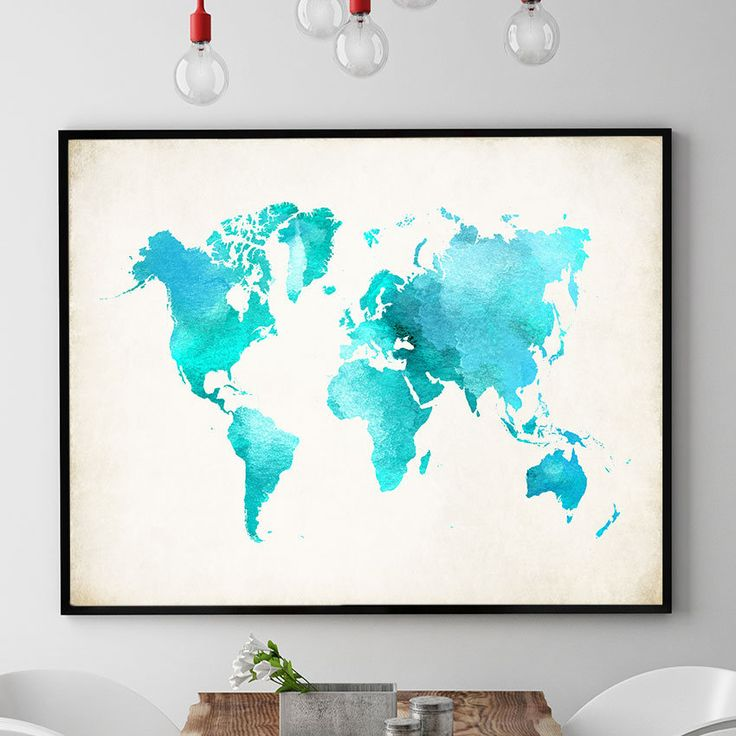 Watercolour World Map Print, World Map Poster, World Map Wall Art, World Map Art Work, Map Gift Kids Room Wall Art Decor (726) by PointDot on Etsy