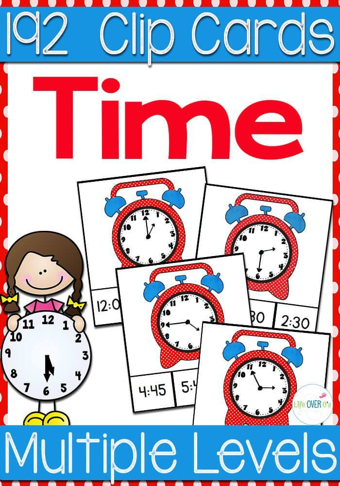 192 Time Clip Cards for learning to tell time! 7 levels of practice!: