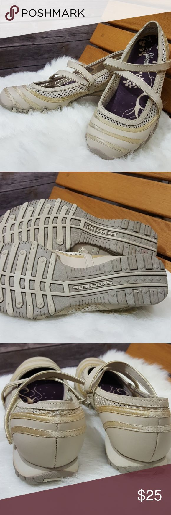 Skechers ballerina type walking shoes Skechers ballerina type walking shoes with velcro closure size 8 true true size has slight discoloration on  stripe see the last picture - other than that excellent condition - picture is true color Skechers Shoes