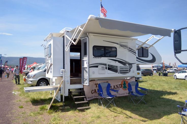 In addition to expedition vehicles and motor coaches, Host industries makes slide-out campers for trucks