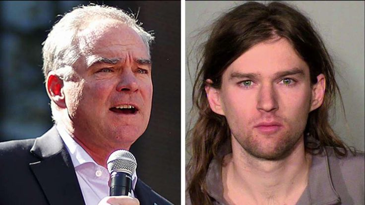 The son of Sen. Tim Kaine, D-Va., was one of six people arrested Saturday protesting a rally in support of President Trump at the Minnesota State Capitol.
