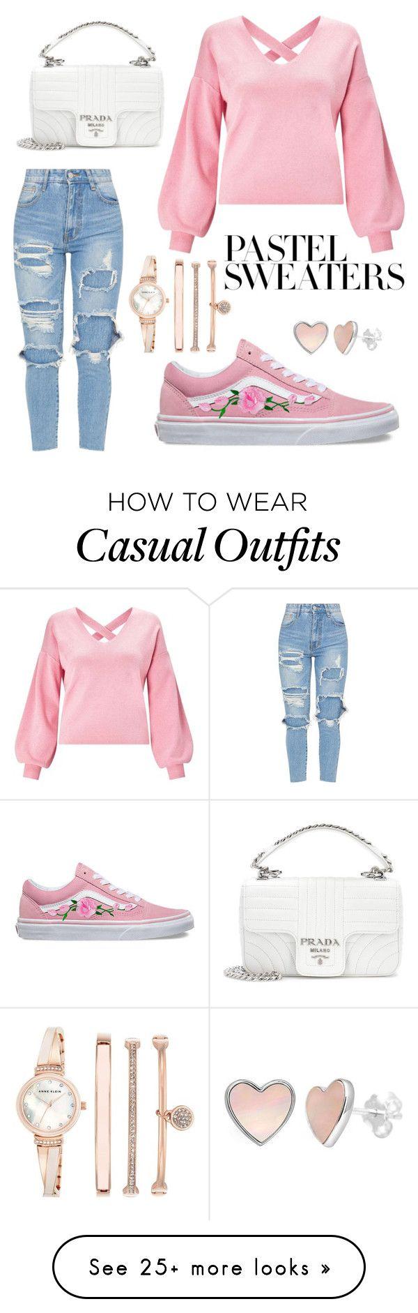 """casual weekend"" by saegerlisa on Polyvore featuring Miss Selfridge, Vans, Anne Klein, Prada and pastelsweaters"