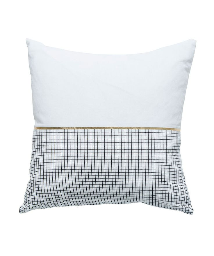 The Half Check Cushion Black/Gold loves chilling with you on the couch or snuggling up in bed. Comes complete with a feather insert so all you need to do is fluff and place. | huntingforgeorge.com