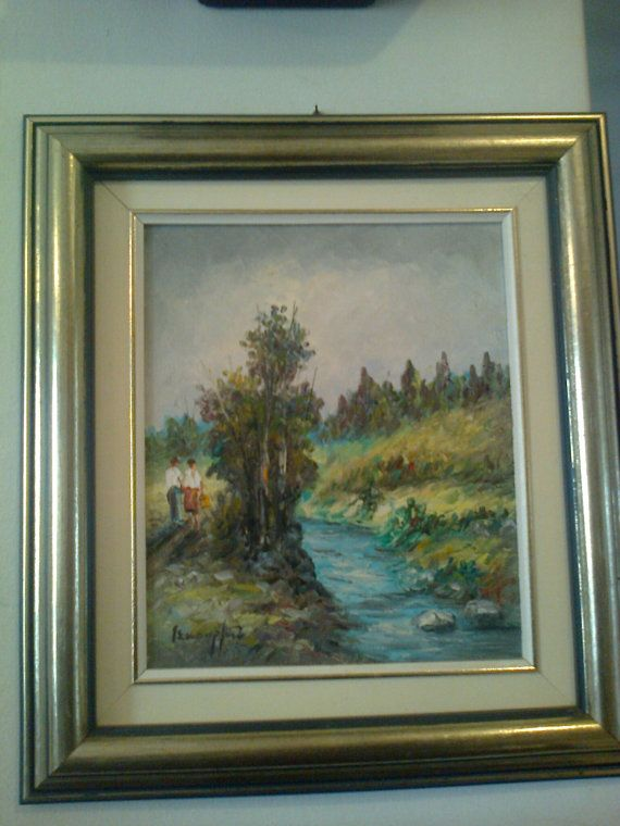 Oil on camvas real painting couple on riverbank G by Lionsoul, €270.00