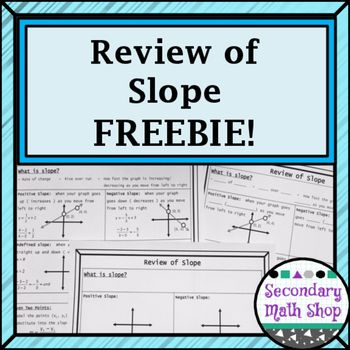 Algebra / Geometry - Review of Slope Graphic Organizer HandoutThis is a one page Graphic Organizer handout that is designed to review slope.  It is perfect for quick review in a Geometry or Algebra 2 class or as a graphic organizer for Algebra 1!    This is a perfect resource for Pre-Algebra, Algebra, Geometry and Algebra 2!The Graphic Organizer includes :1)  What is slope2)  What do the four types (positive, negative, undefined and zero) look like and a place to sketch them.  3)  Finding…