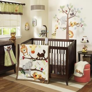 Adorable textured animals play on corduroy branches with colorful leaves on a background of soft chenille. Tommy Tiger is fast asleep while a friendly elephant tries to climb the tree. A soft minky skin print surrounds the animals that swing happily in their favorite tree.