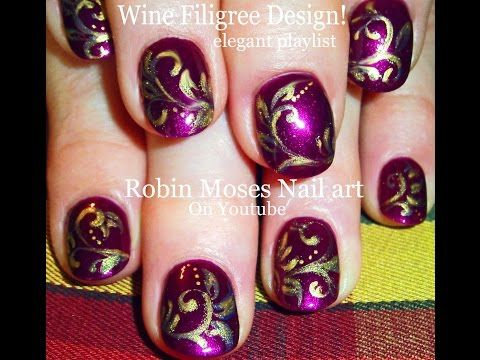 Purple Nail Art | Wine With Gold Filigree Nails design tutorial - YouTube