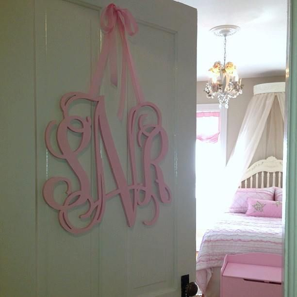 A monogram on the door to a big girl room - so chic! {Adore this cursive wood monogram from @The Spotted Zebras} #biggirlroom #decorThe Doors, Spots Zebras, Girls Bedrooms, Wooden Monograms, Baby, Monogram Letters, 18 Inch, Monograms Initials, Inch Wooden