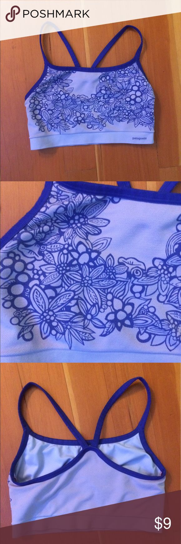 Women's Patagonia Blue Floral Sports Bra A gently used Patagonia L sports bra with a cute floral pattern. Is in great condition with no stains or tears and is very comfy and cute! Patagonia Intimates & Sleepwear Bras