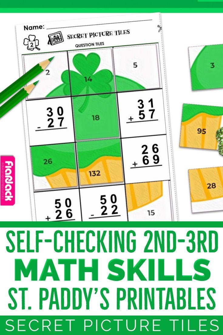 Free Editable St Patrick S Day Worksheet Secret Picture Tile Style Flapjack 3rd Grade Math Worksheets 3rd Grade Math Math Printables [ 1102 x 735 Pixel ]