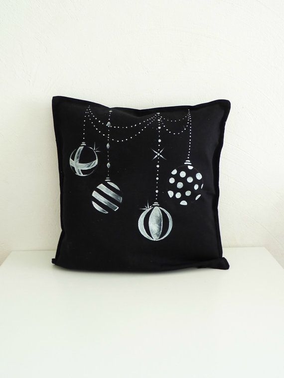 Blackboard Christmas balls cushion cover. Hand by LaNiqueHOME,