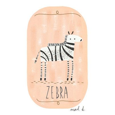 Zebra - 6x4 art print - Available in pink, peach, green, teal, blue & purple - Kids room wall art