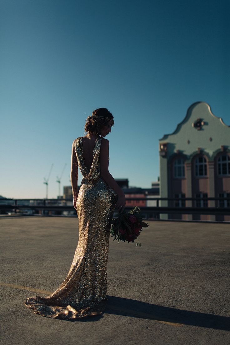 Stunning Le-lujah gown and Komorebi headpiece featured in Urban Gatsby Glamour shoot on The Bride's Market blog
