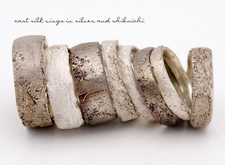 "Rings | Maya Kini.  ""Cast Silk"".  Silver and shibuichi."