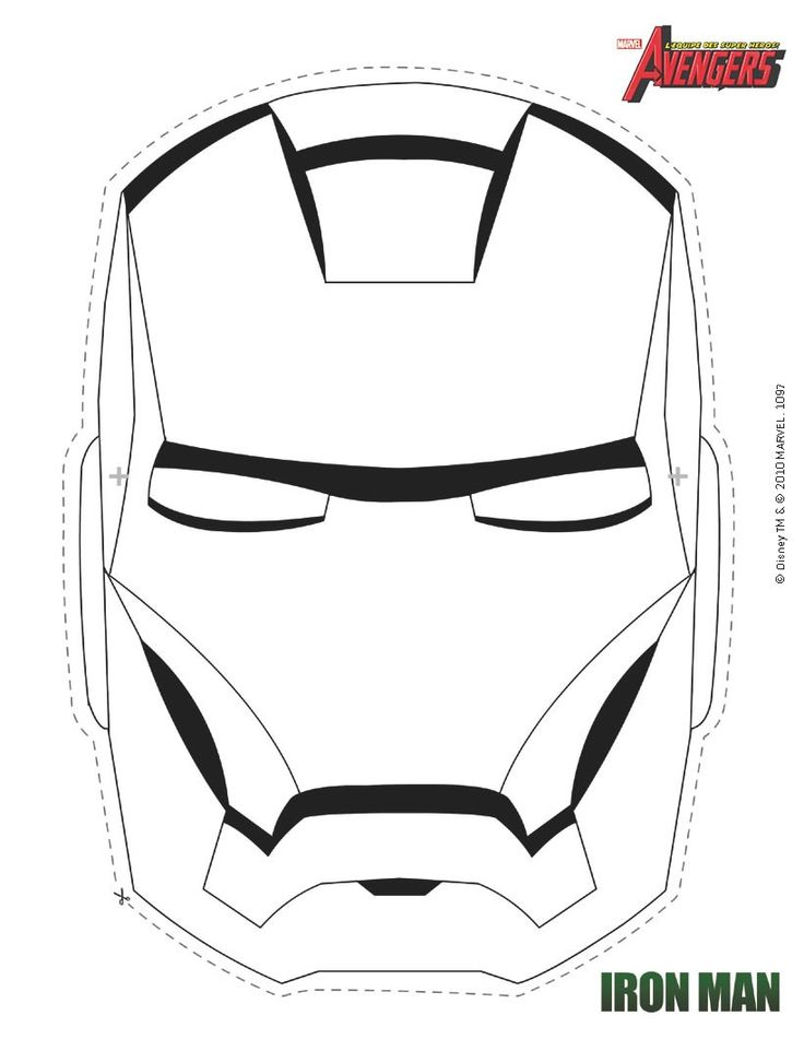 Masque à imprimer : Masque d'Iron Man à colorier                                                                                                                                                                                 Plus
