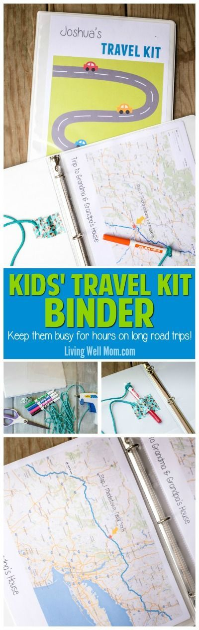 Taking a road trip with the kids? Check out how to make this easy Travel Kit Binder for Kids (you don't have to be crafty!) With an attached marker and holder, this fun activity will keep kids happy for HOURS on long road trips. Plus 150+ free printables!