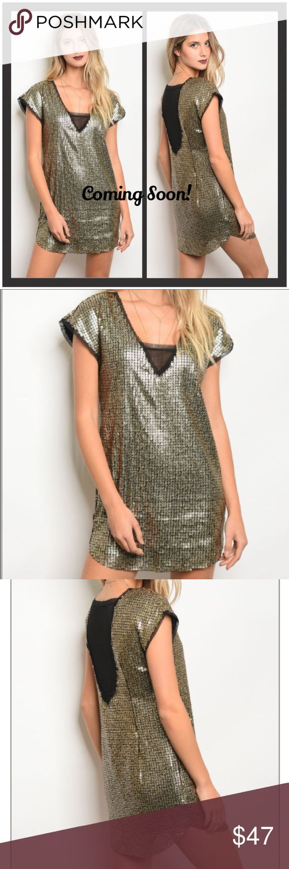 Gold Sequin Tunic Dress Short sleeve all over sequins tunic dress.  Can be worn as a dress, or as a tunic with leggings. 100% polyester. Dresses Mini