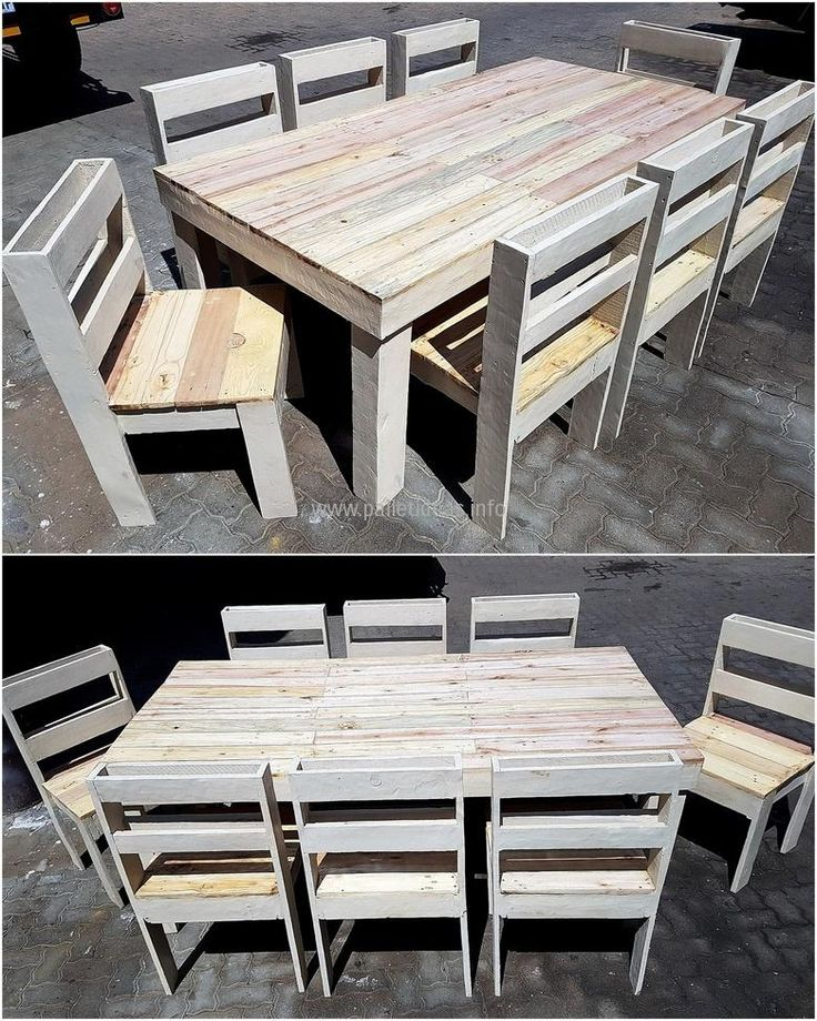 Here is an idea for a huge dining table for a huge family or for the person who loves to host parties and enjoying with the friends. The pallets are painted with light color because light colors make the room look big. The size of the table can be reduced according to the requirement and space available to place it.