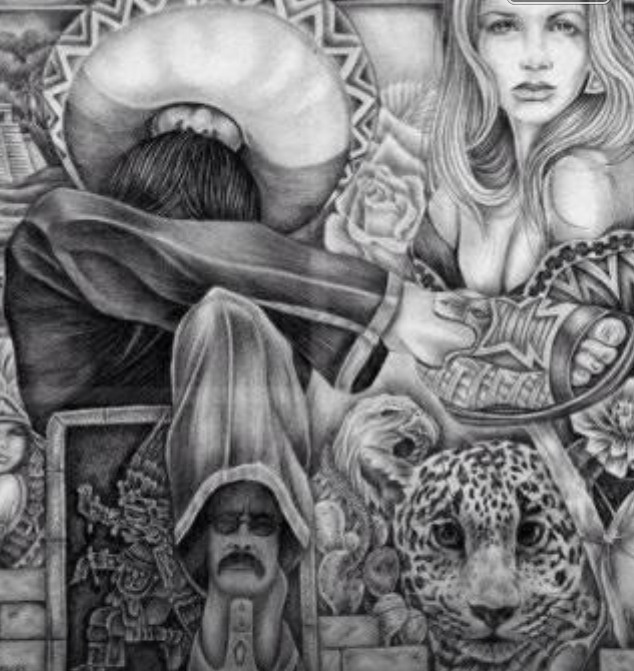 55 best images about lowrider arte on pinterest aztec for Aztec mural tattoos