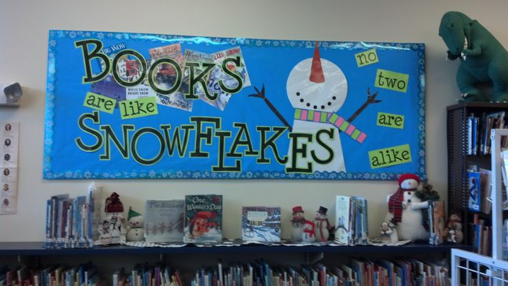 Books Are Like Snowflakes. Library Bulletin Board Display. Seneca East Public Library.