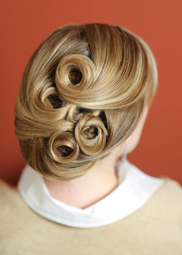 Ansel Olson updo with pin curls