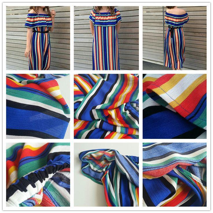 Shein женщин новый летний пляж случайные длинные платья дамы многоцветный полосатый с коротким рукавом с плеча ruffle dress купить на AliExpress