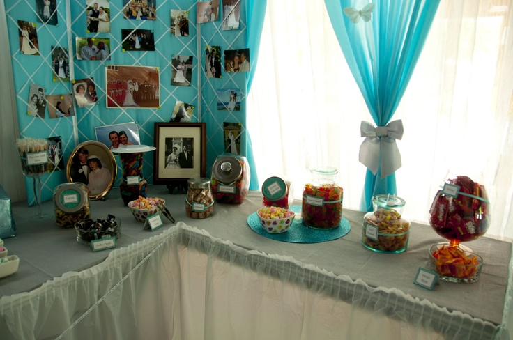 """Behind the candy buffet were two large boards that we used to display the wedding photos from (most) of the couples who attended our wedding!   Behind these boards was a sign that read """"All because two people fell in love""""   This was our tribute to those who have helped bring us together and shape the people we are :)"""