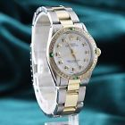 Preowned Rolex White Oyster Perpetual 6551 Emerald/ Diamonds Watch - Oyster Band