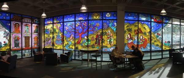 Stained glass @ The Evergreen State College Library - Olympia WA